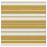 [ Thumbnail: Dark Goldenrod & Mint Cream Colored Lines Fabric ]