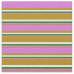 [ Thumbnail: Dark Goldenrod, Orchid, Green & White Pattern Fabric ]
