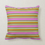 [ Thumbnail: Dark Goldenrod, Orchid, Green & White Pattern Throw Pillow ]