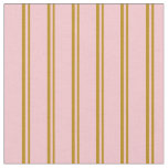 [ Thumbnail: Dark Goldenrod & Pink Striped Pattern Fabric ]