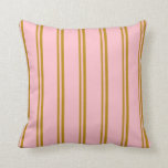 [ Thumbnail: Dark Goldenrod & Pink Striped Pattern Throw Pillow ]