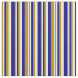 [ Thumbnail: Dark Goldenrod, White, and Blue Colored Lines Fabric ]