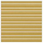 [ Thumbnail: Dark Goldenrod & White Colored Stripes Fabric ]