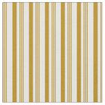 [ Thumbnail: Dark Goldenrod & White Striped/Lined Pattern Fabric ]