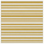 [ Thumbnail: Dark Goldenrod & White Striped/Lined Pattern Fabric ]
