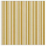 [ Thumbnail: Dark Goldenrod & White Striped Pattern Fabric ]