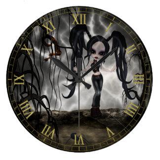 Dark Goth Girl Vignette Wall Clock