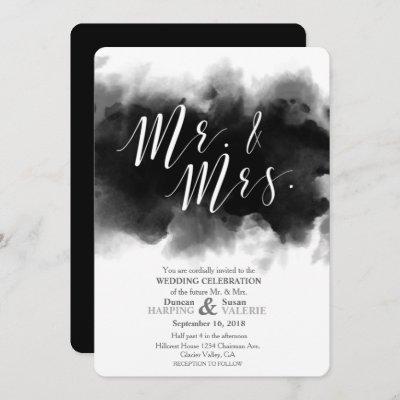 Dark Goth Mr and Mrs Watercolor Wedding Invitation