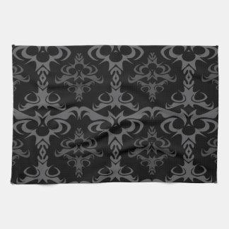 Dark Gothic Damask Pattern Hand Towels