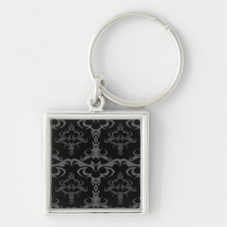 Dark Gothic Damask Pattern Silver-Colored Square Keychain