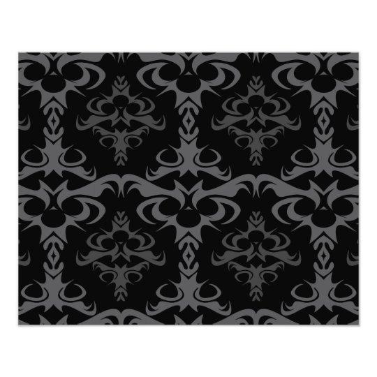 Dark Gothic Damask Pattern Photo Print