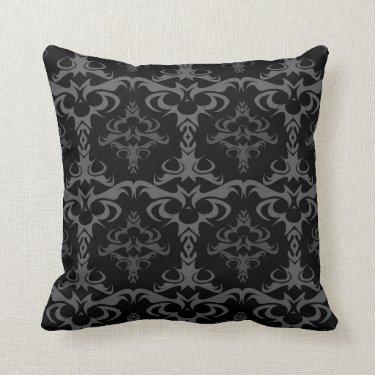 Dark Gothic Damask Pattern Pillows