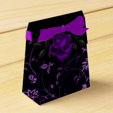 Halloween Themed Dark Gothic Purple Rose Favor Box