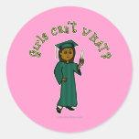 Dark Graduate in Green Round Sticker