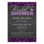 Dark Grape Damask Bridal Shower Invitations