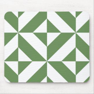 Dark Grass Green Geometric Deco Cube Pattern Mouse Pad