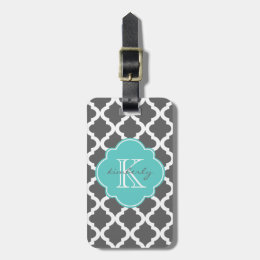 Dark Gray and Aqua Moroccan Quatrefoil Print Luggage Tag