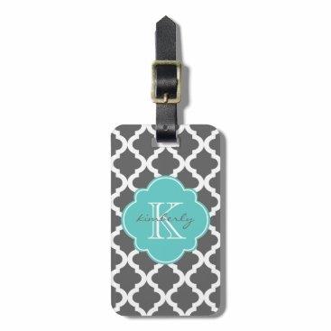 Letsrendevoo Dark Gray and Aqua Moroccan Quatrefoil Print Luggage Tag