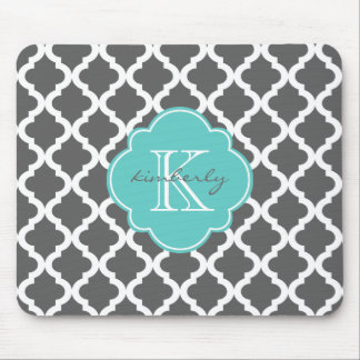 Dark Gray and Aqua Moroccan Quatrefoil Print Mouse Pad