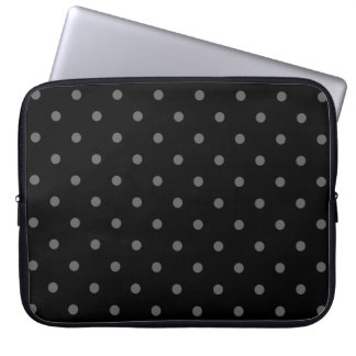 Dark Gray and Black Polka Dot Pattern. Computer Sleeve