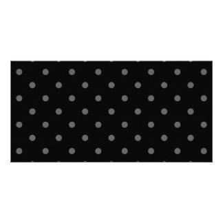 Dark Gray and Black Polka Dot Pattern. Personalized Photo Card