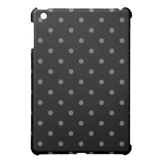 Dark Gray and Black Polka Dot Pern. Cover For The iPad Mini