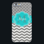 """Dark Gray and Blue Chevron Personalized Barely There iPhone 6 Case<br><div class=""""desc"""">Show off your style in a fun way with this charcoal gray and blue chevron and quatrefoil personalized case.</div>"""