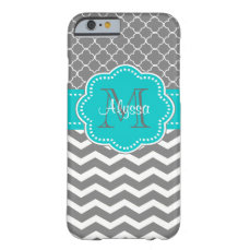 Dark Gray and Blue Chevron Personalized Barely There iPhone 6 Case