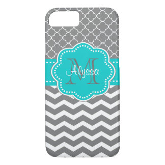 Dark Gray and Blue Chevron Personalized iPhone 7 Case