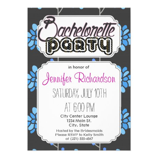 Dark Gray and Blue Retro Flower, Floral Invitations