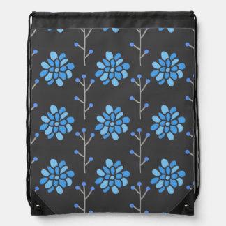 Dark Gray and Blue Retro Flower, Floral Drawstring Bag