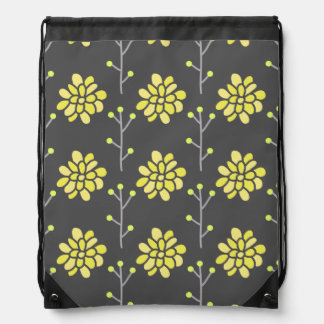 Dark Gray and Bright Yellow Retro Flower, Floral Backpacks