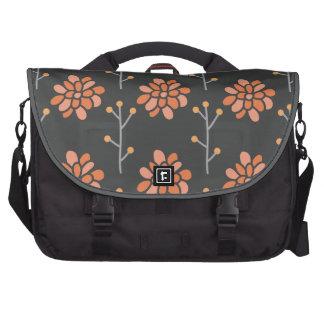 Dark Gray and Coral Orange Retro Flower, Floral Laptop Bag