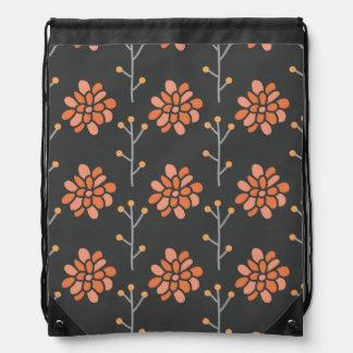 Dark Gray and Coral Orange Retro Flower, Floral Drawstring Bags