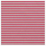 [ Thumbnail: Dark Gray and Crimson Stripes Fabric ]