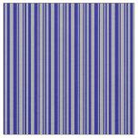 [ Thumbnail: Dark Gray and Dark Blue Colored Stripes Fabric ]