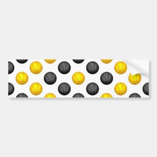 Dark Gray and Gold Basketball Pattern Bumper Sticker
