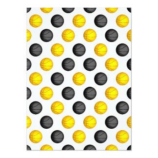 Dark Gray and Gold Basketball Pattern Card