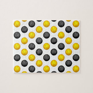 Dark Gray and Gold Basketball Pattern Jigsaw Puzzle