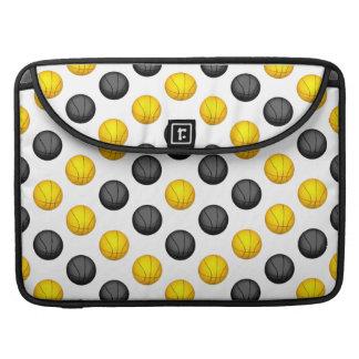 Dark Gray and Gold Basketball Pattern MacBook Pro Sleeves