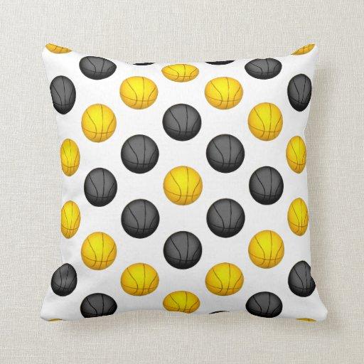 Dark Gray and Gold Basketball Pattern Pillow