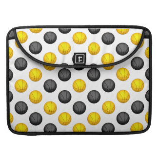 Dark Gray and Gold Basketball Pattern Sleeve For MacBook Pro