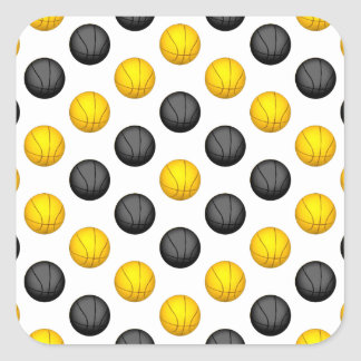 Dark Gray and Gold Basketball Pattern Square Sticker