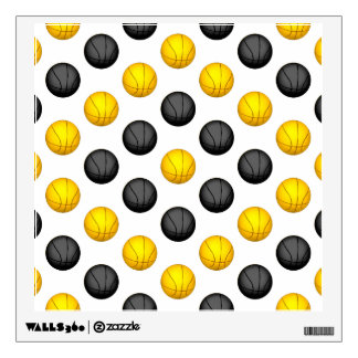 Dark Gray and Gold Basketball Pattern Wall Decal