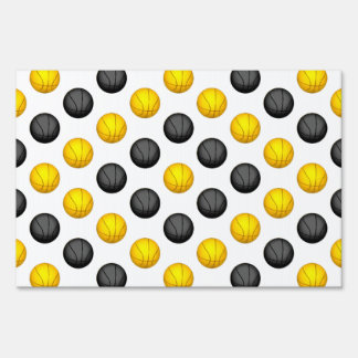 Dark Gray and Gold Basketball Pattern Lawn Signs