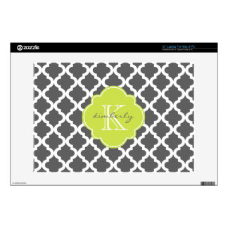 Dark Gray and Kiwi Moroccan Quatrefoil Print Decals For Laptops