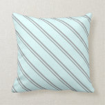 [ Thumbnail: Dark Gray and Light Cyan Stripes/Lines Pattern Throw Pillow ]