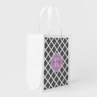 Dark Gray and Lilac Moroccan Quatrefoil Monogam Reusable Grocery Bag
