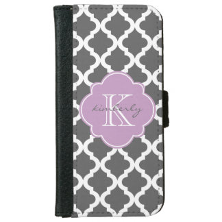 Dark Gray and Lilac Moroccan Quatrefoil Print iPhone 6/6s Wallet Case