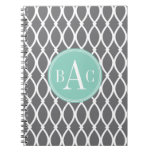 Dark Gray and Mint Monogrammed Barcelona Print Spiral Notebooks